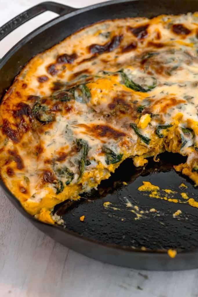 squash lasagna cut in cast iron skillet
