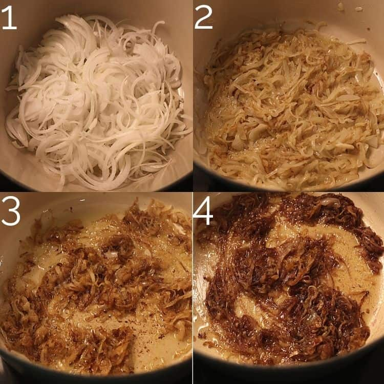 caramelizing onions in a dutch oven