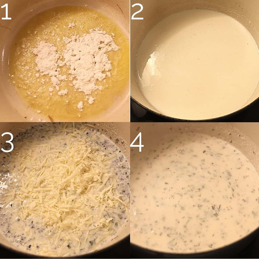 making a cheesy bechamel sauce in a dutch oven