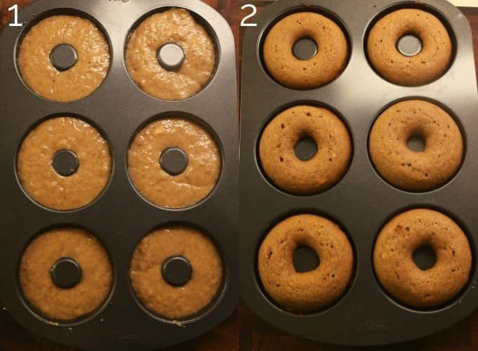 unbaked vs baked donuts in donut tin