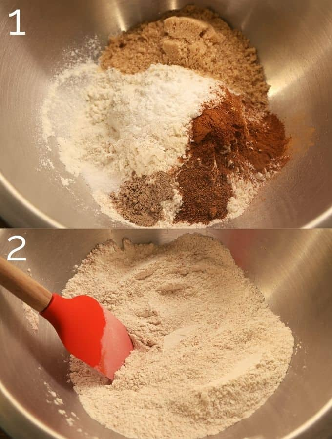 flour, brown sugar, cinnamon, nutmeg, and cardamom being mixed in a bowl