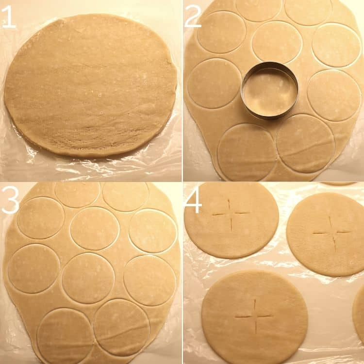 rolling out pie dough and cutting circles with circular baking cutter