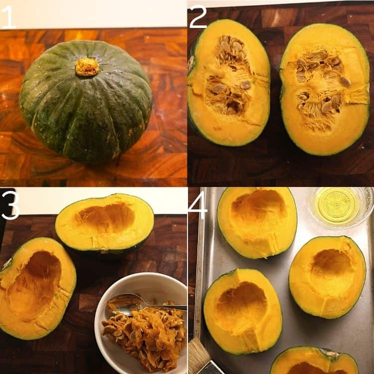 cutting a kabocha squash and scooping seeds out on a cutting board