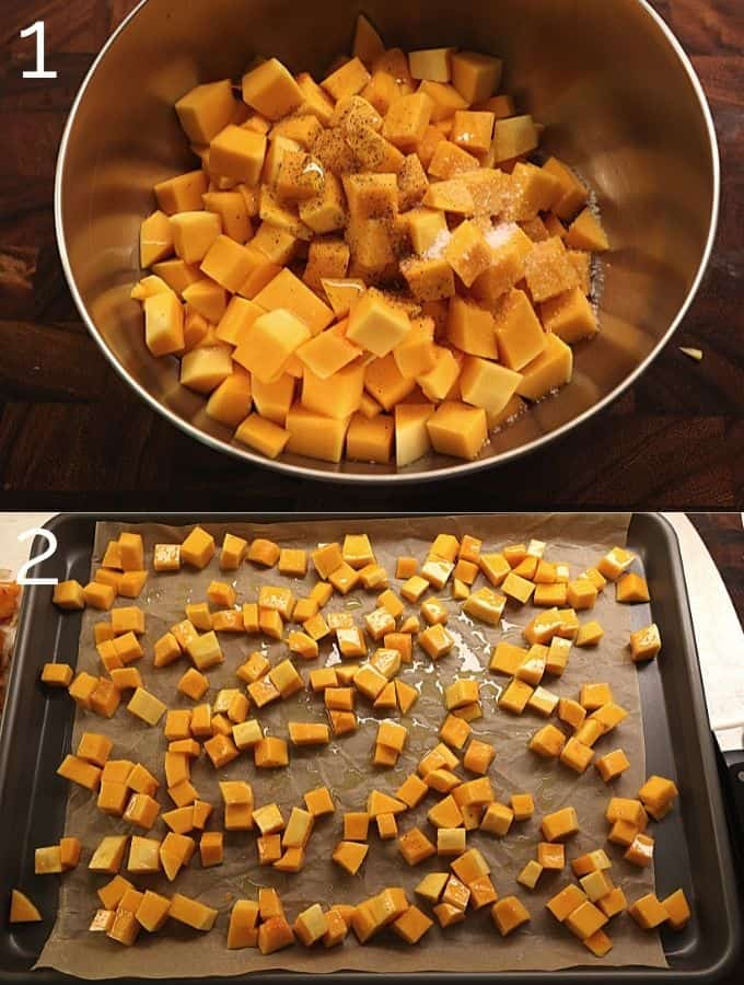diced butternut squash on a sheet pan with olive oil and salt