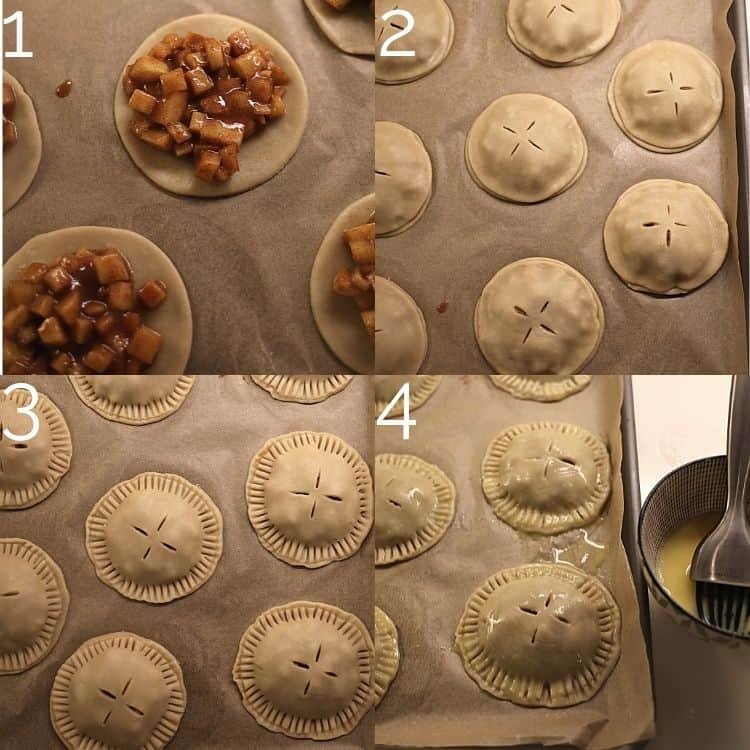 adding apple pie filling to pie dough and adding crust on top