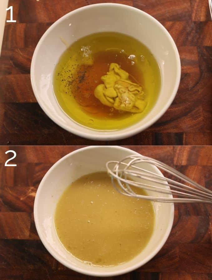 whisking honey dijon vinaigrette in a white bowl
