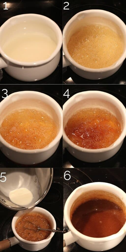caramel changing colors in a pot on the stove