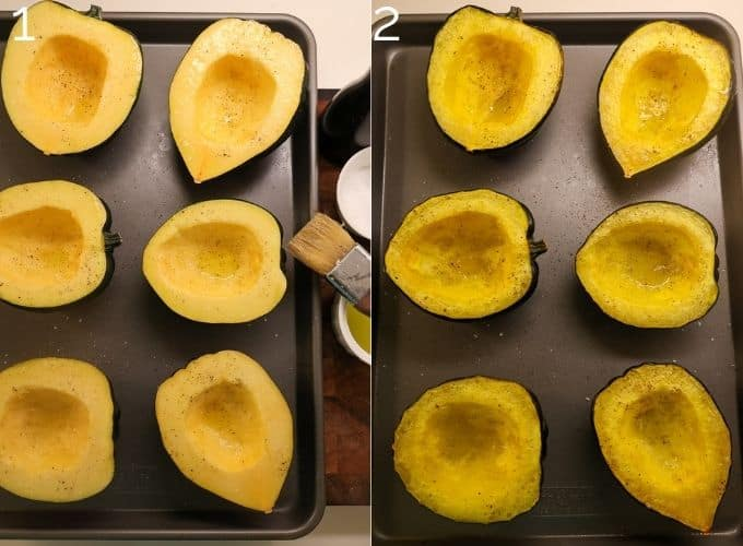 halved acorn squash brushed with olive oil and roasted on a sheet pan
