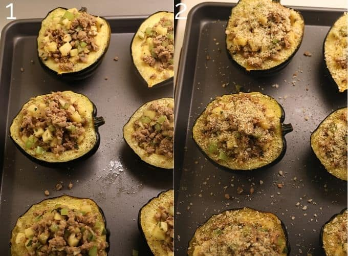 stuffing acorn squash with sausage apple mix and topping with parmesan panko